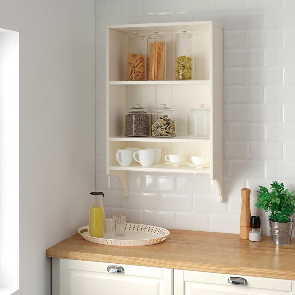 "<p>With shelves of three different sizes, the <a href=""https://www.popsugar.com/buy/Tornviken%20Wall%20Shelf-446989?p_name=Tornviken%20Wall%20Shelf&retailer=ikea.com&price=60&evar1=casa%3Aus&evar9=46151613&evar98=https%3A%2F%2Fwww.popsugar.com%2Fhome%2Fphoto-gallery%2F46151613%2Fimage%2F46152178%2FTornviken-Wall-Shelf&list1=shopping%2Cikea%2Corganization%2Ckitchens%2Chome%20shopping&prop13=api&pdata=1"" rel=""nofollow noopener"" target=""_blank"" data-ylk=""slk:Tornviken Wall Shelf"" class=""link rapid-noclick-resp"">Tornviken Wall Shelf</a> ($60) allows you to hold large jars, small cups, and everything in between, right in one spot.</p>"