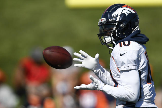 """One month after undergoing surgery on his Achilles, Broncos receiver Emmanuel Sanders underwent a """"tightrope"""" surgery on his right ankle. (Aaron Ontiveroz/The Denver Post/Getty Images)"""