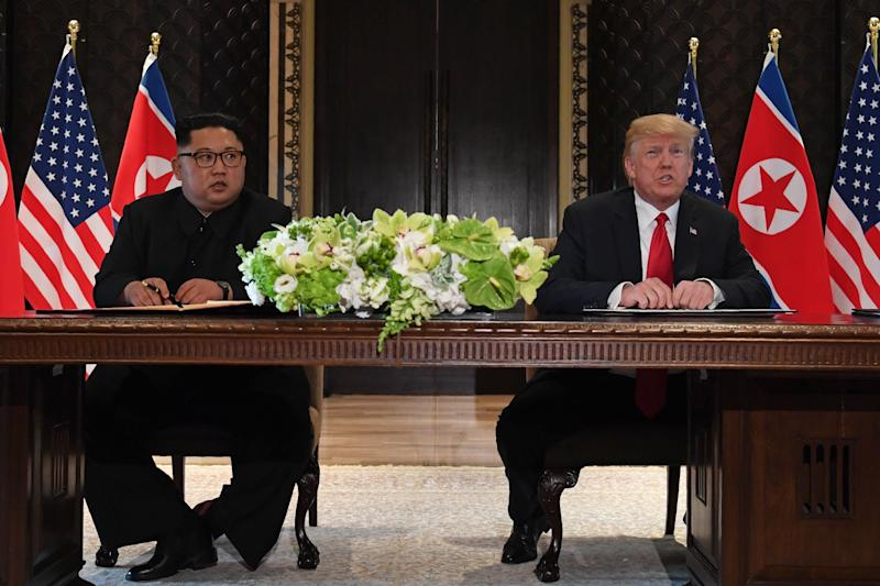 President Donald Trump speaks at a signing ceremony with North Korea's leader Kim Jong Un on June 12, 2018.