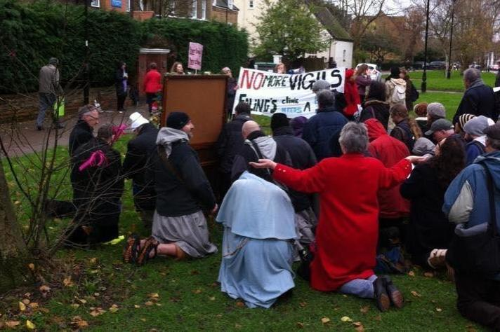 Protest: Pro-life campaigners outside the clinic in Ealing. (Sister Supporter)