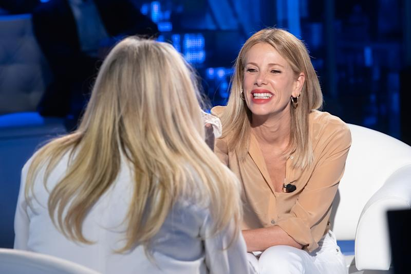 """Alessia Marcuzzi during the Italian TV Show """"Domenica In"""", in Rome, Italy, on May 20, 2019. (Photo by Mauro Fagiani/NurPhoto via Getty Images)"""