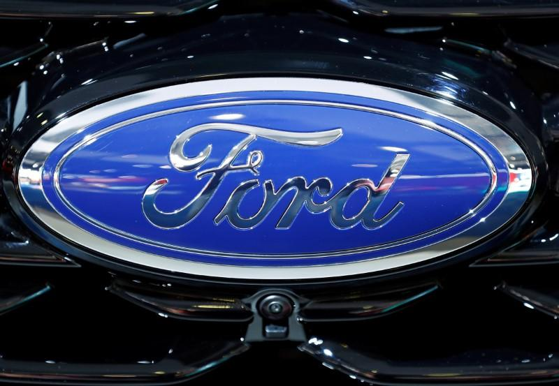 The corporate logo of Ford is seen at Brussels Motor Show