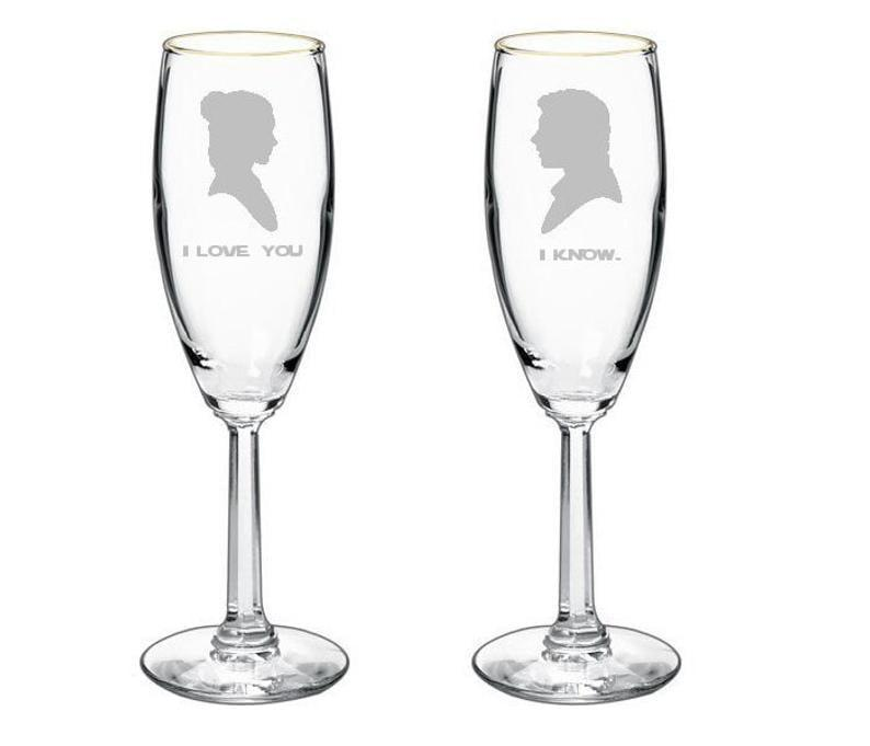 <p>Give your honey something sweet, like these <span>Star Wars Champagne Toasting Glasses</span> ($19, and up).</p>