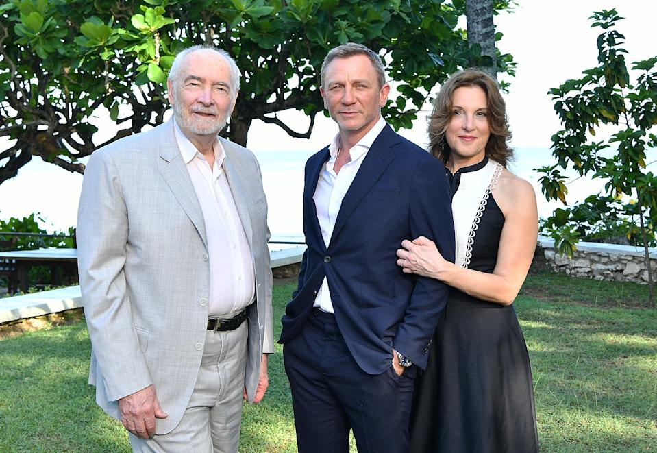 """MONTEGO BAY, JAMAICA - APRIL 25:  (L-R) Producer Michael G Wilson, cast member Daniel Craig and producer Barbara Broccoli attend the """"Bond 25"""" film launch at Ian Fleming's Home 'GoldenEye'  on April 25, 2019 in Montego Bay, Jamaica.  (Photo by Slaven Vlasic/Getty Images for Metro Goldwyn Mayer Pictures)"""
