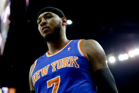 Feb 19, 2014; New Orleans, LA, USA; New York Knicks small forward Carmelo Anthony (7) against the New Orleans Pelicans during the first quarter of a game at the Smoothie King Center. Mandatory Credit: Derick E. Hingle-USA TODAY Sports