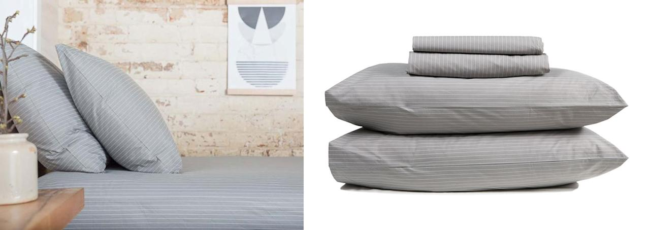 """<p>You can help your man do a bit of simple interior decorating by gifting a set of trendy sheets. This set is from The Good Sheet Source: <a rel=""""nofollow"""" href=""""https://www.thegoodsheet.com.au/collections/cotton-sheet-sets/products/percale-sheet-set"""">The Good Sheet</a> </p>"""