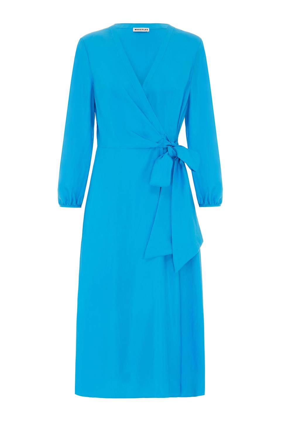 """<p>This blue hue is certainly not for the wallflowers, but colour is very much in right now. Add to that that wrap styles are one of the most universally flattering shapes and we present you this AH-MAZING Whistles dress. <em><a rel=""""nofollow noopener"""" href=""""http://www.whistles.com/women/clothing/dresses/callie-silk-wrap-dress-27129.html?cgid=Dresses_Clothing_WW&dwvar_callie-silk-wrap-dress-27129_color=Turquoise#start=0"""" target=""""_blank"""" data-ylk=""""slk:Buy here."""" class=""""link rapid-noclick-resp"""">Buy here.</a></em> </p>"""