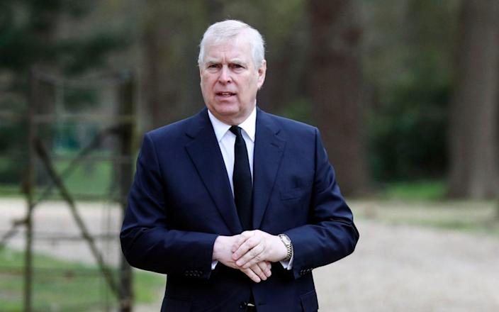 The Duke of York attends the Sunday service at the Royal Chapel of All Saints at Royal Lodge, Windsor, - Steve Parsons