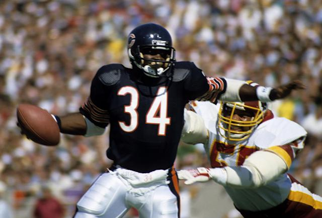 Walter Payton passed Jim Brown as the NFL's all-time leading rusher in 1984, a record that was later broken by Emmitt Smith. (Photo by Bruce Dierdorff/Getty Images)