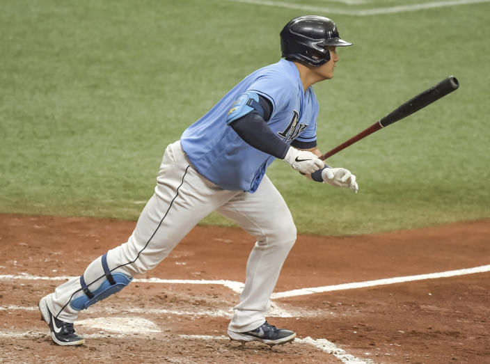 Tampa Bay Rays' Ji-Man Choi singles off New York Mets starter Marcus Stroman during the fourth inning of a baseball game Sunday, May 16, 2021, in St. Petersburg, Fla. (AP Photo/Steve Nesius)