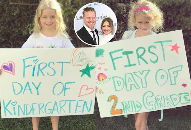 "<p>Eric Dane and Rebecca Gayheart's daughters looked ready for kindergarten and second grade. We love mom's homemade signs! (Photos: <a href=""https://www.instagram.com/p/BYdqaxGhmOH/?hl=en&taken-by=rebeccagayheartdane"" rel=""nofollow noopener"" target=""_blank"" data-ylk=""slk:Rebecca Gayheart"" class=""link rapid-noclick-resp"">Rebecca Gayheart</a> <a href=""https://www.instagram.com/p/BYeH3hzh5g6/?hl=en&taken-by=rebeccagayheartdane"" rel=""nofollow noopener"" target=""_blank"" data-ylk=""slk:via Instagram"" class=""link rapid-noclick-resp"">via Instagram</a>/Getty Images)<br><br><br></p>"