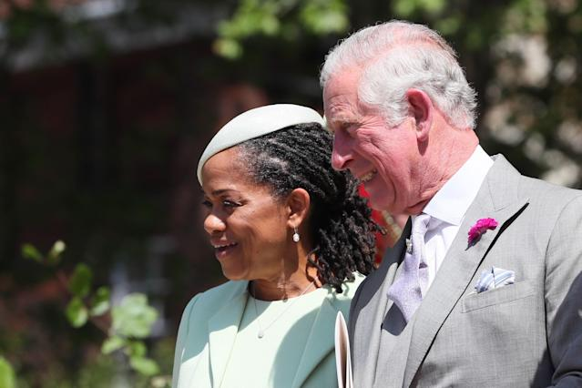Prince Charles, photographed with Markle's mother Doria Ragland, gave a speech at his son's reception. (Photo: Getty)