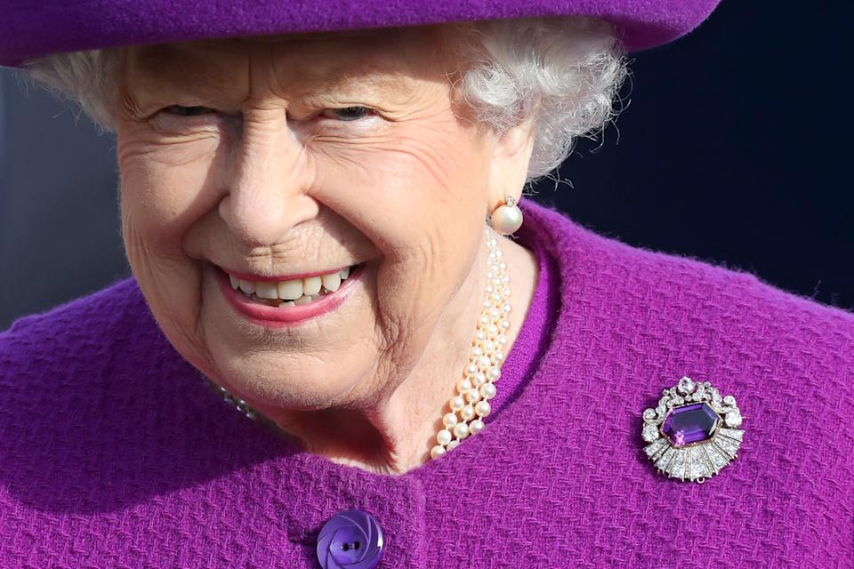 AYLESFORD, ENGLAND - NOVEMBER 06: Queen Elizabeth II during a visit to the Royal British Legion Industries village to celebrate the charity's centenary year on November 06, 2019 in Aylesford, England. (Photo by Chris Jackson/Getty Images)