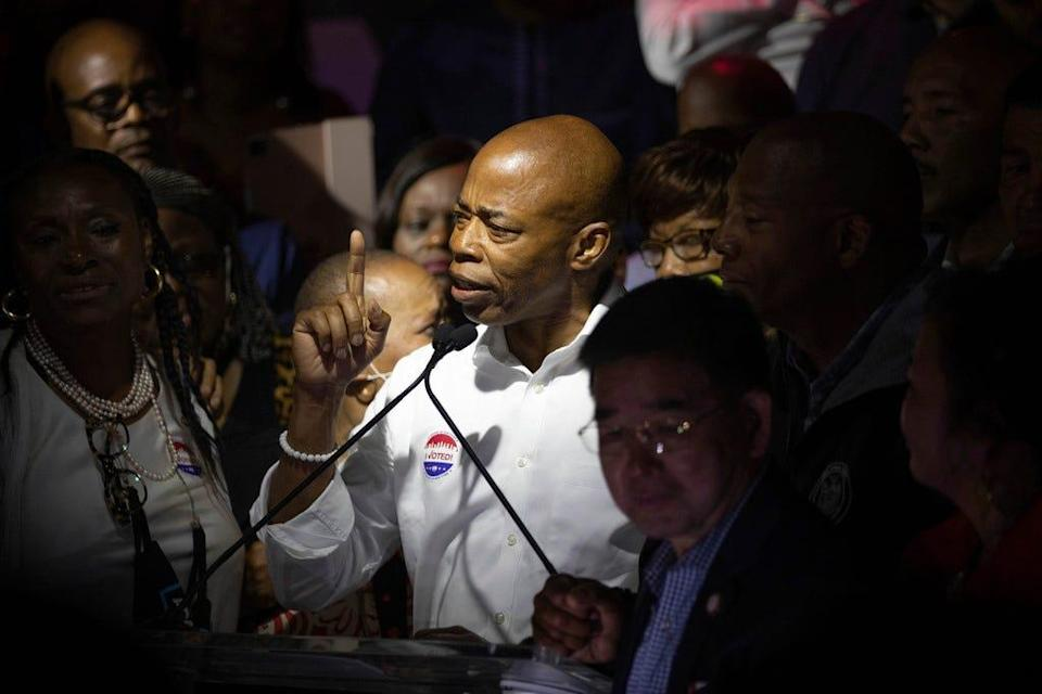 Democratic mayoral candidate Eric Adams speaks at his primary night election party, Tuesday, June 22, 2021, in New York.