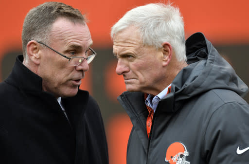 Browns GM John Dorsey (L) and team owner Jimmy Haslam are the ones to be held accountable for the Freddie Kitchens hire. (AP)
