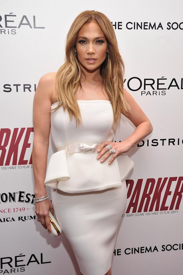 "NEW YORK, NY - JANUARY 23:  Jennifer Lopez attends a screening of ""Parker"" hosted by FilmDistrict, The Cinema Society, L'Oreal Paris and Appleton Estate at MOMA on January 23, 2013 in New York City.  (Photo by Stephen Lovekin/Getty Images)"