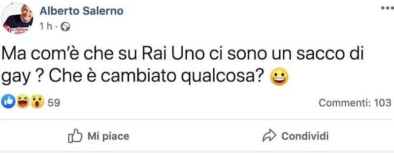 Il post di Alberto Salerno (Photo: facebook)