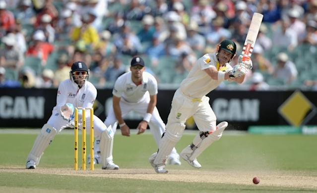 ADELAIDE, AUSTRALIA - DECEMBER 07: David Warner of Australia bats during day three of the Second Ashes Test match between Australia and England at Adelaide Oval on December 7, 2013 in Adelaide, Australia. (Photo by Gareth Copley/Getty Images)