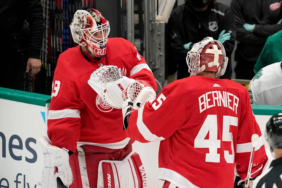 Detroit Red Wings goaltender Thomas Greiss (29) skates onto the ice to replace goaltender Jonathan Bernier (45) in the second period at American Airlines Center in Dallas on Tuesday, April 20, 2021.