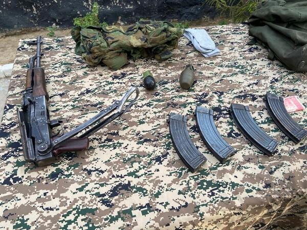 The Army has recovered war-like stores including an AK 47 rifle, four magazines of AK 47 with ammunition, and two hand grenades from the terrorist.