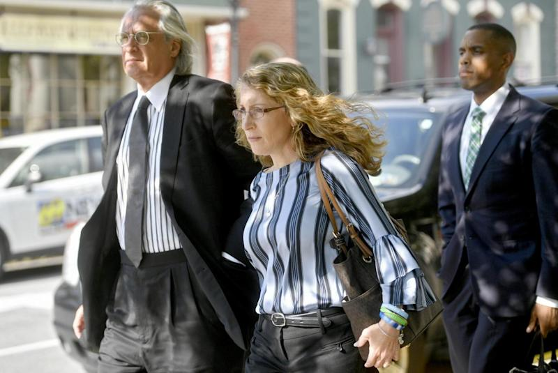 Evelyn Piazza leaves a preliminary hearing for the members of Beta Theta Pi charged in her son's death