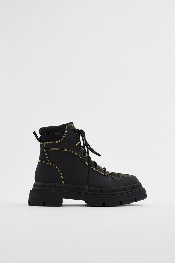 """<br><br><strong>Zara</strong> Low Heel Rubberized Ankle Boots With Topstitching, $, available at <a href=""""https://go.skimresources.com/?id=30283X879131&url=https%3A%2F%2Fwww.zara.com%2Fus%2Fen%2Flow-heel-rubberized-ankle-boots-with-topstitching-p13136610.html%3Fv1%3D58107364%26v2%3D1609213"""" rel=""""nofollow noopener"""" target=""""_blank"""" data-ylk=""""slk:Zara"""" class=""""link rapid-noclick-resp"""">Zara</a>"""
