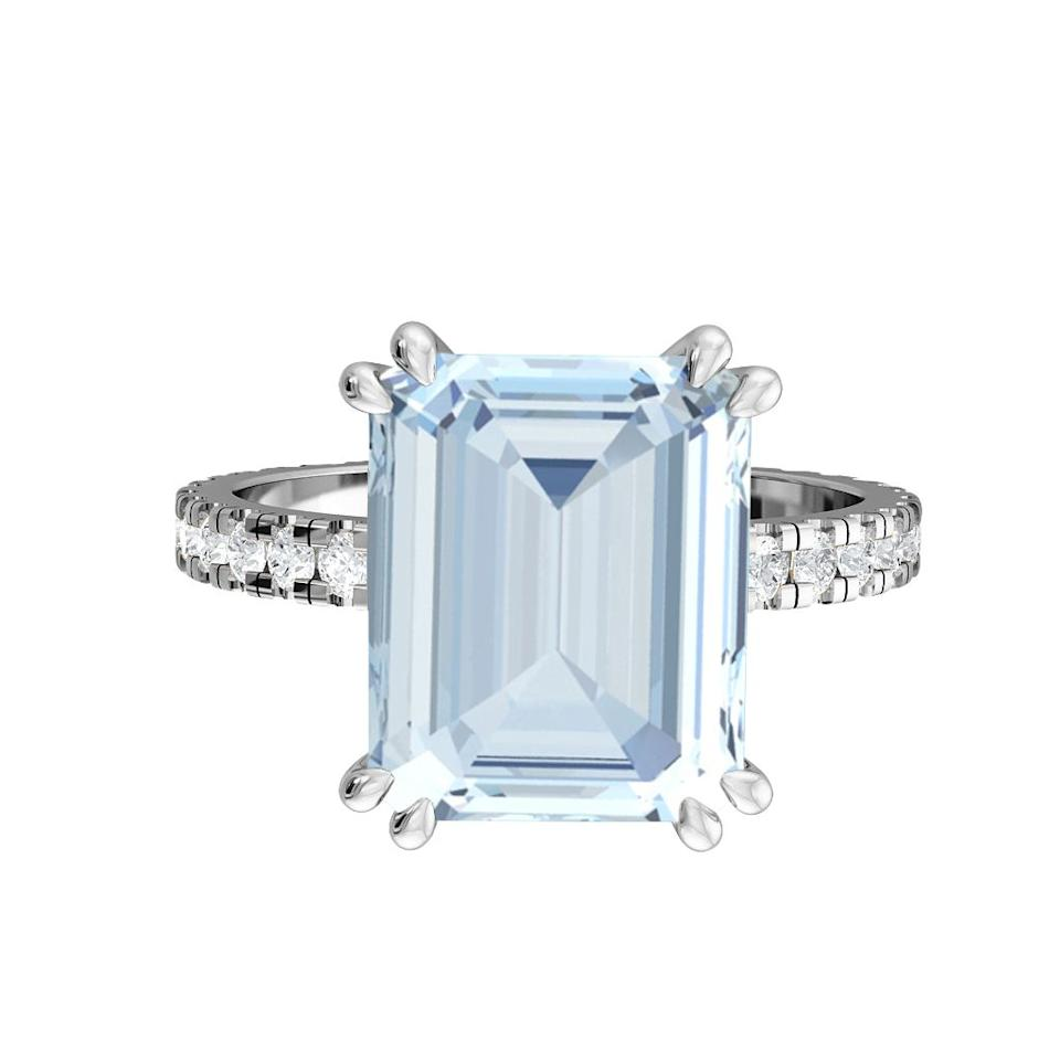 """<p>It doesn't always have to be a diamond - we love the clear, icy hue of Fenton & Co.'s emerald-cut aquamarine ring.</p><p>Aquamarine, platinum and diamond pavé ring, £2,250.</p><p><a class=""""body-btn-link"""" href=""""https://fentonand.co/"""" target=""""_blank"""">SHOP NOW</a></p>"""