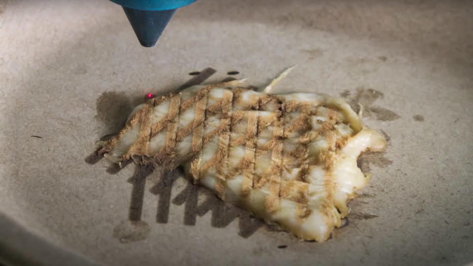 A laser cooking up a piece of flat, 3D-printed chicken on top of a beige surface.