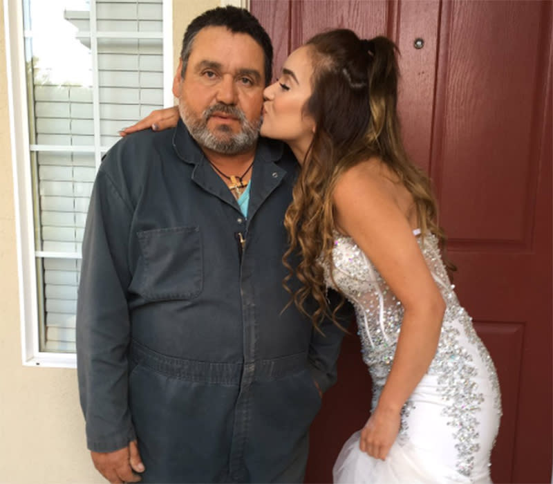 Lourdes Medrano dressed up for prom a second time, so her father could take pictures with her after missing the big event because of work.
