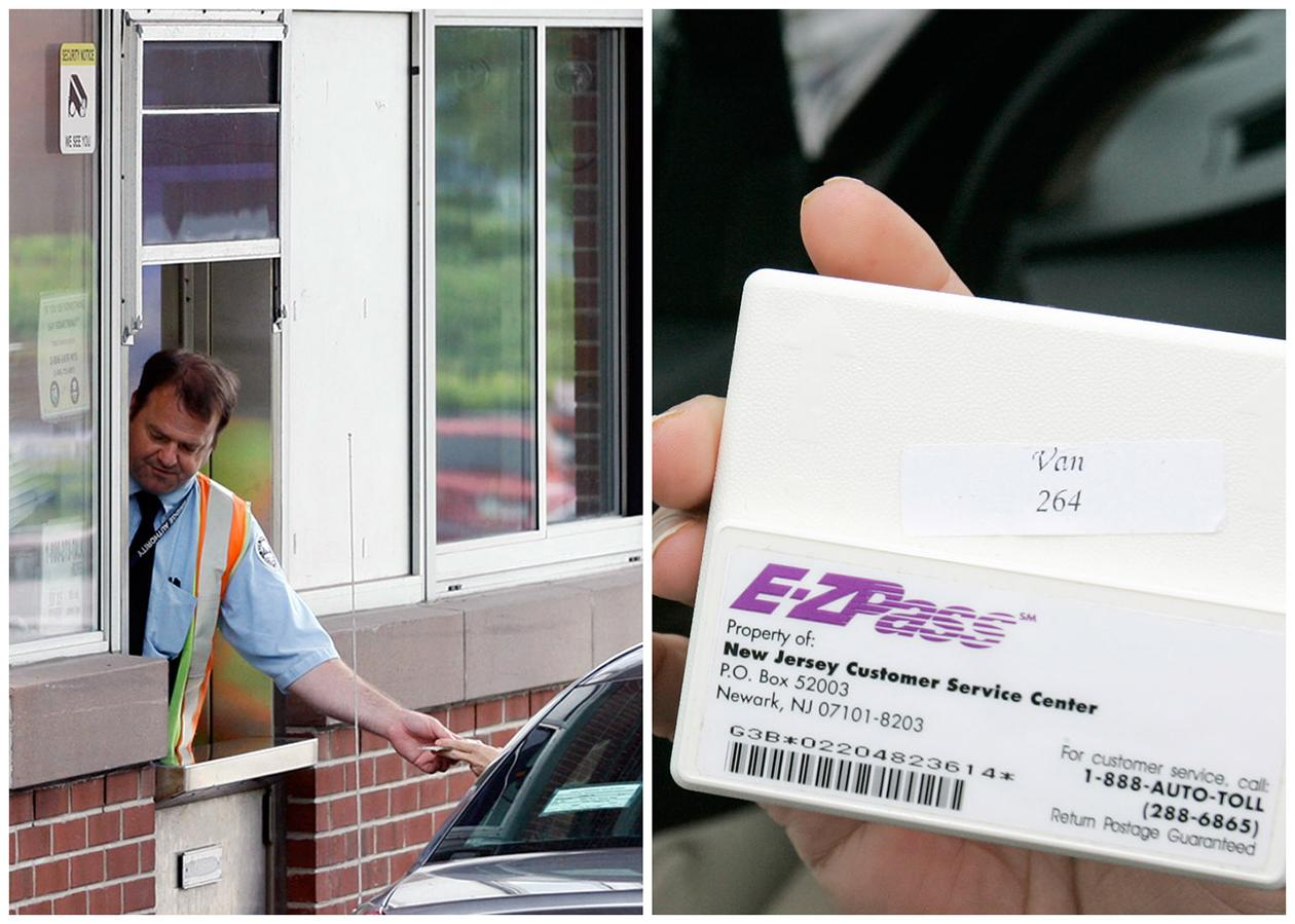 This combination of Associated Press file photos shows, left, toll collector Anthony Morris working a booth at the Rip Van Winkle Bridge in Catskill, N.Y., in 2012, and, right, Manisha Padhye holding up an E-Z Pass in 2009, in Broadview Heights, Ohio. Many middle-class workers have lost jobs because powerful software and computerized machines are doing tasks that only humans could do before.