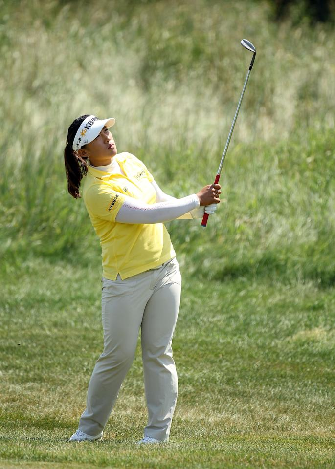 KOHLER, WI - JULY 08:  Amy Yang of South Korea hits her third shot on the par 5 10th hole during the final round the 2012 U.S. Women's Open at Blackwolf Run on July 8, 2012 in Kohler, Wisconsin.  (Photo by Andy Lyons/Getty Images)