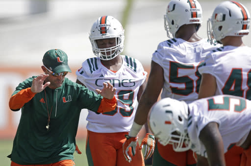 Manny Diaz has been Miami's defensive coordinator for the past three seasons. (AP Photo/Alan Diaz, File)