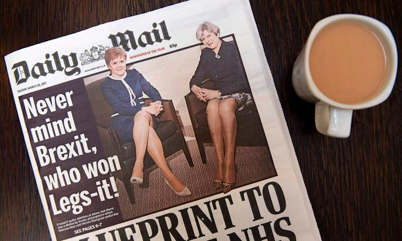 The Daily Mail's 'Never mind Brexit, who won Legs-it!' front page, featuring Theresa May and Nicola Sturgeon.