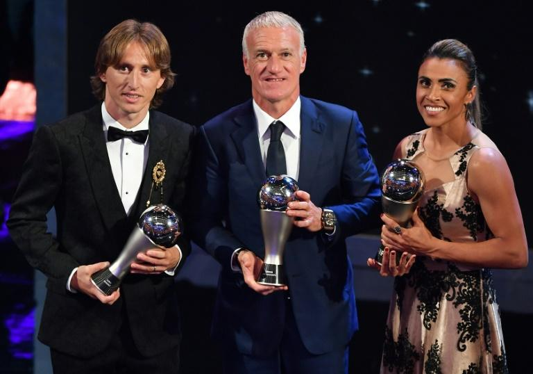 The main FIFA award winners: Luka Modric, Didier Deschamps and Marta
