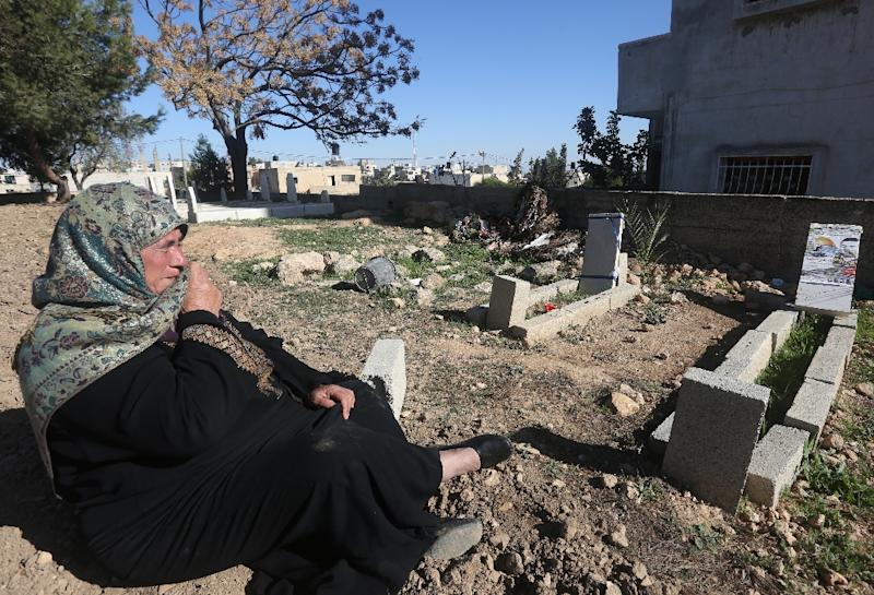 The mother of Saad Dawabsha, who was killed alongside his toddler and wife when their house was firebombed by Jewish extremists on July 31, 2015 in the Israeli-occupied West Bank (AFP Photo/Jaafar Ashtiyeh)
