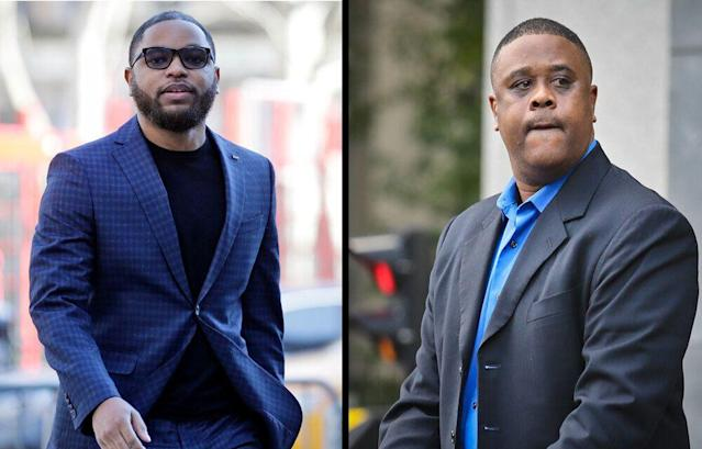 Basketball middleman Christian Dawkins (L) and former Adidas consultant Merl Code were found guilty in federal court on Wednesday. (AP)