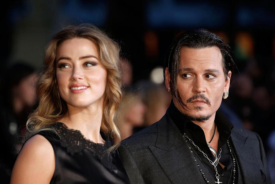 Amber Heard and Johnny Depp attend the <em>Black Mass</em> screening on October 11, 2015 in London, England. (Photo: Getty Images)