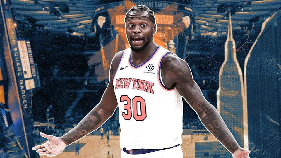 Julius Randle in white jersey in front of MSG background TREATED ART