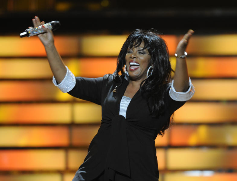 "FILE - In this May 21, 2008 file photo, Donna Summer performs during the finale of ""American Idol"" at the Nokia Theatre in Los Angeles. Summer, the Queen of Disco who ruled the dance floors with anthems like ""Last Dance,"" ""Love to Love You Baby"" and ""Bad Girl,"" has died. Her family announced her death in a statement Thursday, May 17, 2012. She was 63. (AP Photo/Kevork Djansezian, File)"