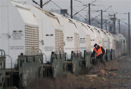 File photo of a train convoy of CASTOR containers, which carry radioactive nuclear waste, during a technical stop in Remilly