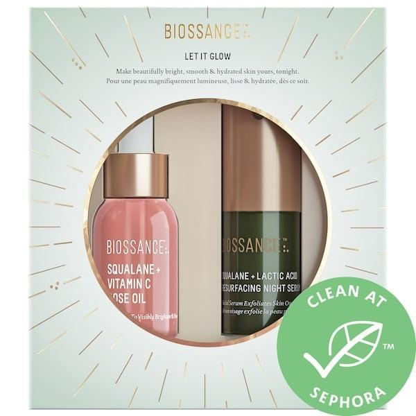 <p>The <span>Biossance Let It Glow Set</span> ($25) will leave your loved one's skin glowing through the winter months.</p>