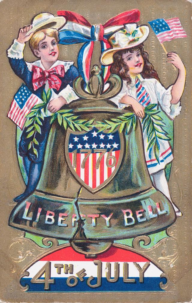 <p>Illustrated color postcard celebrating the American holiday, the Fourth of July, showing children in patriotic colors with the Liberty Bell, a symbol of American independence. (Photo: Kean Collection/Archive Photos/Getty Images) </p>