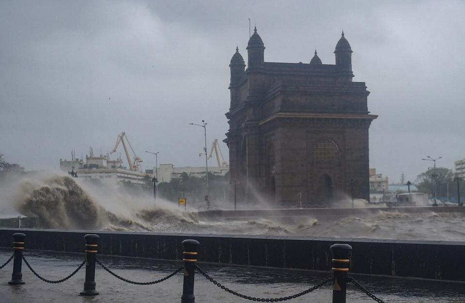 Strong sea waves near the Gateway of India as cyclone Tauktae approaches the coast of Mumbai on Monday.