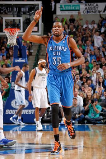DALLAS, TX - MARCH 17: Kevin Durant #35 of the Oklahoma City Thunder celebrates after making a shot against the Dallas Mavericks on March 17, 2013 at the American Airlines Center in Dallas, Texas. (Photo by Glenn James/NBAE via Getty Images)
