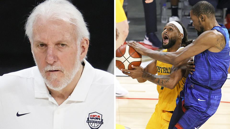 Gregg Popovich got into a tense back and forth with a reporter after Team USA suffered a shock loss to Australia. Pictures: Getty Images