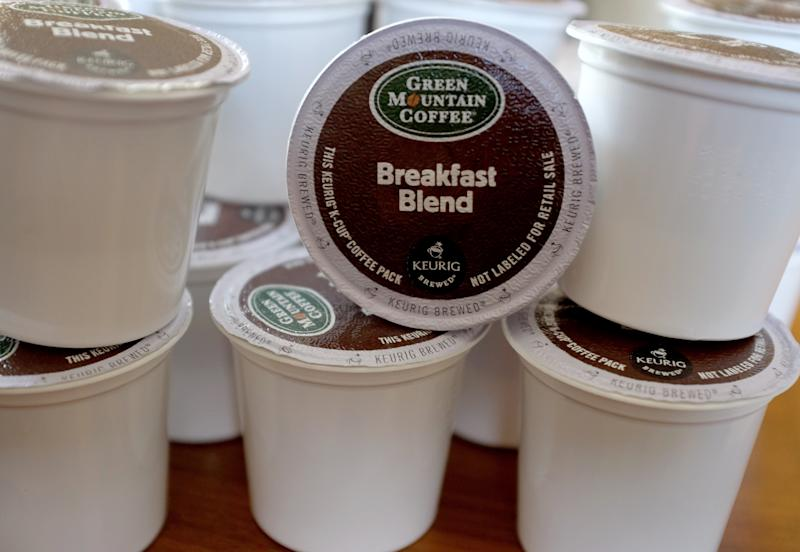 Lindsay Gallimore, who blogs about environmental issues, likened the advent of plastic baby pouches to K-Cups. Both are convenient and difficult to recycle.  (Joe Raedle via Getty Images)