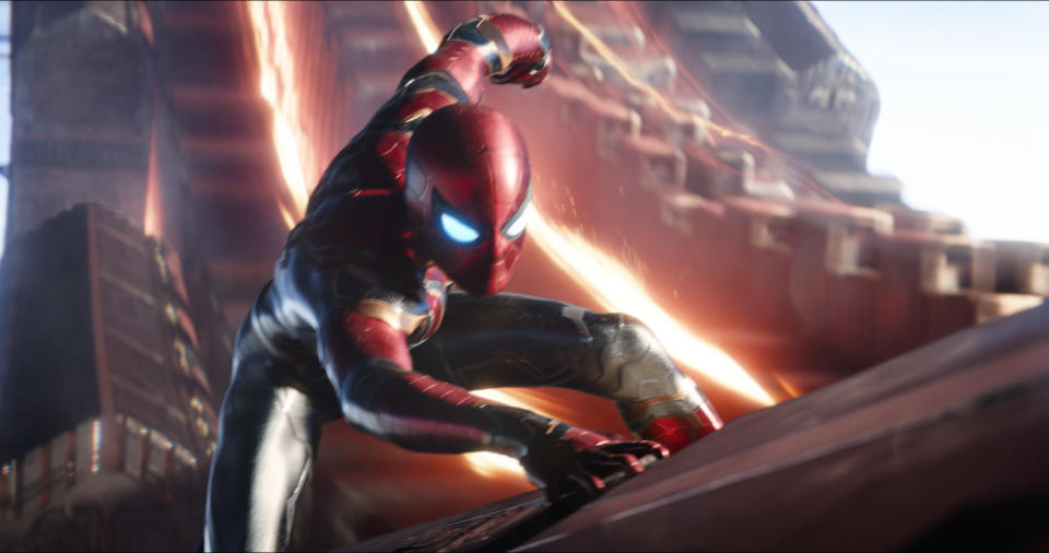 "This image released by Marvel Studios shows Tom Holland as Spider-Man in a scene from ""Avengers: Infinity War."" (Marvel Studios via AP)"