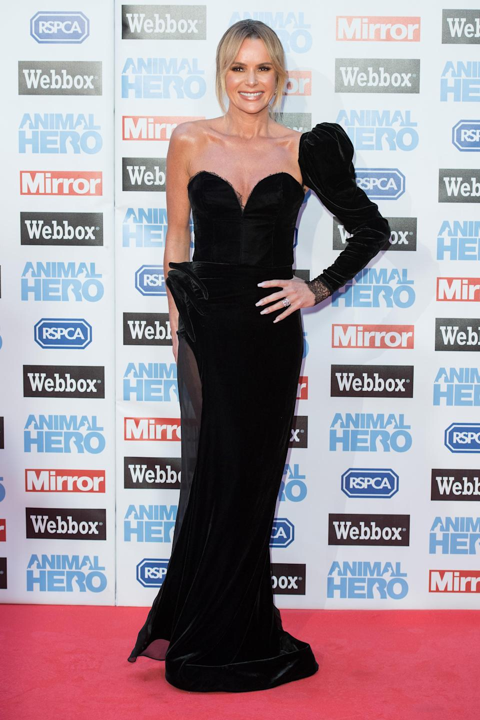 <p>Amanda wowed in a sultry gown by Nedret Taciroglu. <em>[Photo: Getty]</em> </p>