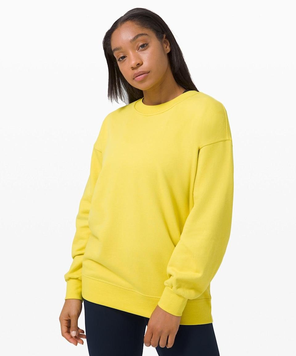"""<h3>Perfectly Oversized Crew</h3><br>As someone who's racked up a small collection of Lululemon's crew-neck sweatshirts (the <a href=""""https://shop.lululemon.com/p/womens-outerwear/All-Yours-Crew-Terry-MD/_/prod9980086?color=0001"""" rel=""""nofollow noopener"""" target=""""_blank"""" data-ylk=""""slk:All Yours"""" class=""""link rapid-noclick-resp"""">All Yours</a> is a personal fave) I can tell you from personal experience that these are the GOAT. Not too heavy, not too baggy — just right. <br><br><strong>What They're Saying:</strong> """"This sweater is as comfortable as it is described. Not too thin nor heavy, literally perfect! As for the terry-cotton type material, I would say it's one of the softest I have had. The oversize cut is also nice for any petite frames of 5'3 and below.""""<br><br><strong>lululemon</strong> Perfectly Oversized Crew, $, available at <a href=""""https://go.skimresources.com/?id=30283X879131&url=https%3A%2F%2Fshop.lululemon.com%2Fp%2Fwomens-outerwear%2FPerfectly-Oversized-Crew%2F_%2Fprod9590058"""" rel=""""nofollow noopener"""" target=""""_blank"""" data-ylk=""""slk:lululemon"""" class=""""link rapid-noclick-resp"""">lululemon</a>"""