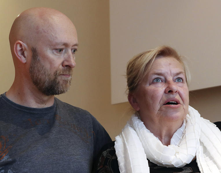 In this photo taken on May 15, 2019, Barbara Borowiecka and and Michał Wojciechowicz, both alleged survivors of abuse as minors by a prominent Solidarity-era priest talk, during an interview with The Associated Press. A documentary film with testimony by victims of clerical abuse in Poland is so harrowing that it has forced an unprecedented reckoning with the problem in one of Europe's most deeply Catholic societies. In December, Borowiecka, 62, told Polish media about being abused when she was 11 by Henryk Jankowski, a prominent prelate in Lech Walesa's anti-communist Solidarity movement in Gdansk, where a monument of him stood. (AP Photo/Czarek Sokolowski)